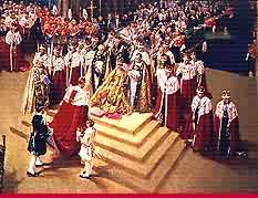 The Duke Of Edinburgh ascends the steps of the Throne