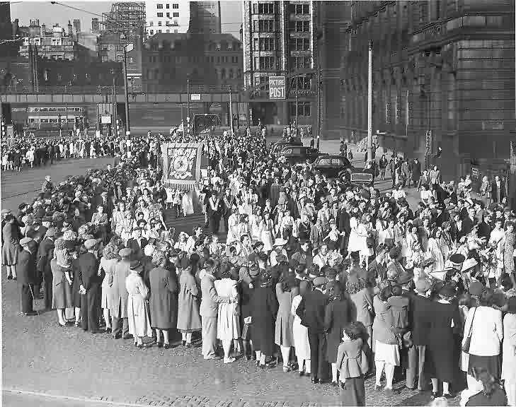 14th July 1947 moving off in procession from the Pier Head after they returned from their visit to New Brighton
